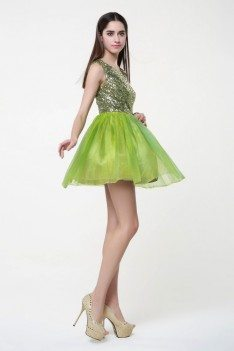 Sequin And Tulle Short Party Dress Onsale - KC116