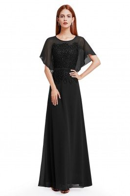 Women's Black Lace Chiffon...
