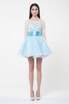 Lace Long Sleeve Short Prom Dress