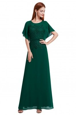 Women's Green Lace Chiffon Long Evening Dress - EP08775DG