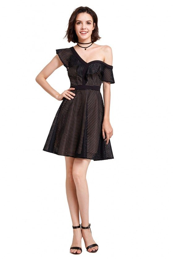 Gorgeous Black Short Sleeve Hollow Out Mesh Perspective Comfy Fashion Cute Dress - AS05888BK