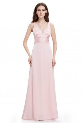 Pink Long V-neck Bridal...