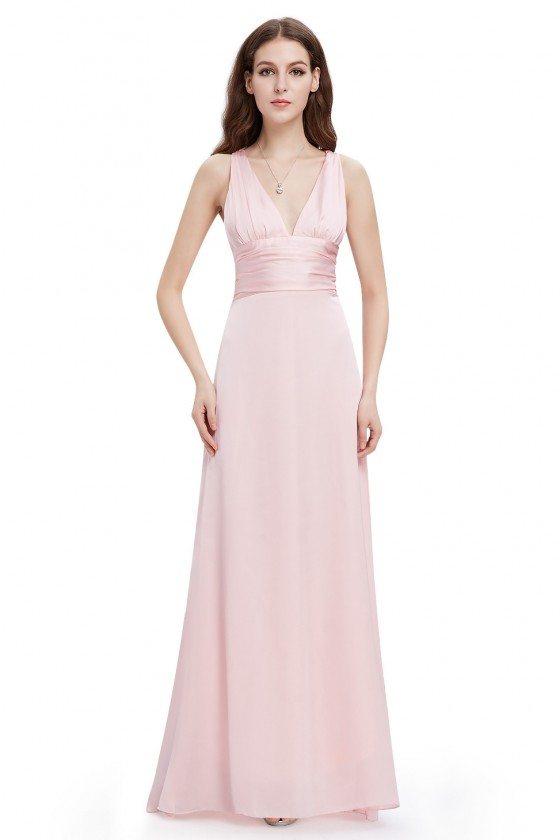 Pink Long V-neck Bridal Party Dress