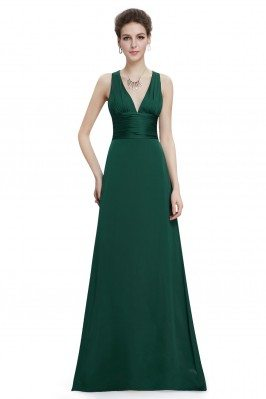 Elegant Green Long V-neck...