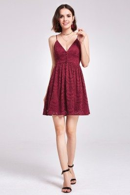 Burgundy Sleeveless Lace...