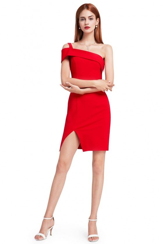 Red Sexy One Shoulder Short Cocktail Dress