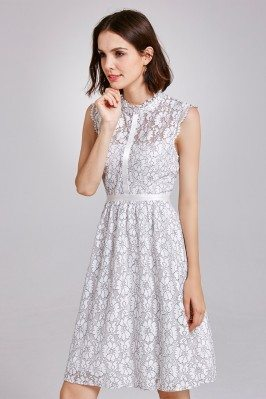 White Cap Sleeve Lace Knee...