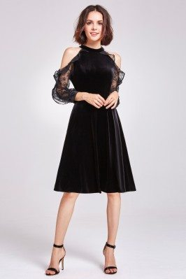 Black Cold Shoulder Velvet...
