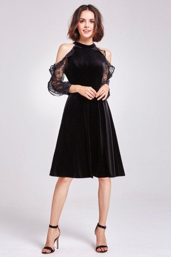Black Cold Shoulder Velvet Short Party Dress
