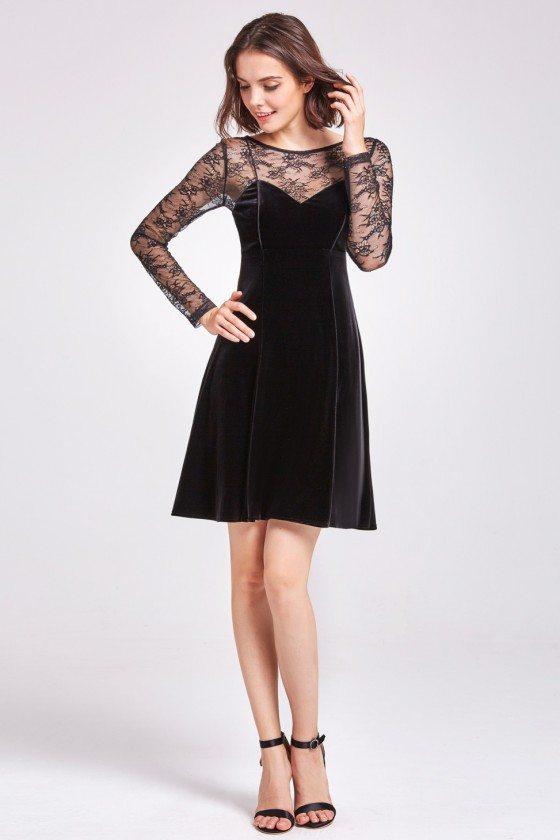 Black Long Lace Sleeve Velvet Party Dress