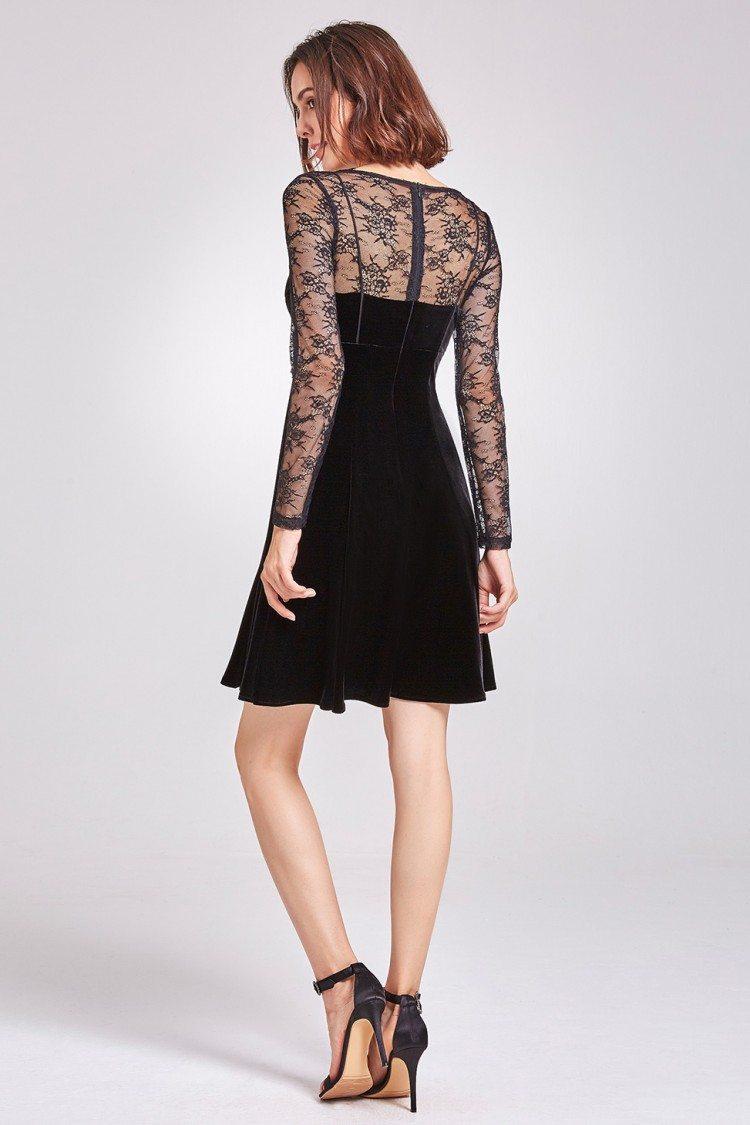 Black Long Lace Sleeve Velvet Party Dress - $42.3 # ...