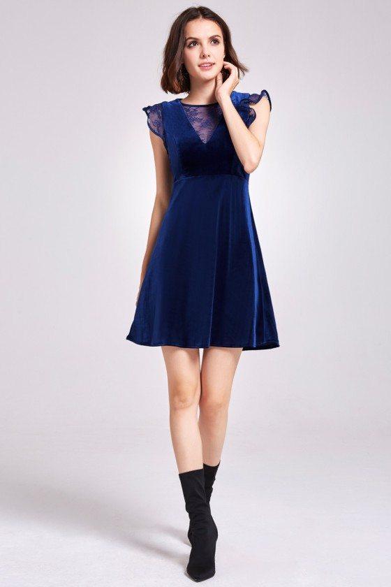 Blue Velvet Cap Sleeve Short Party Dress