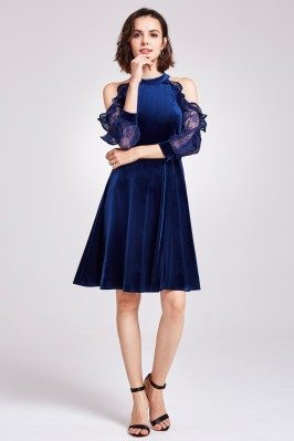 Blue Cold Shoulder Velvet...