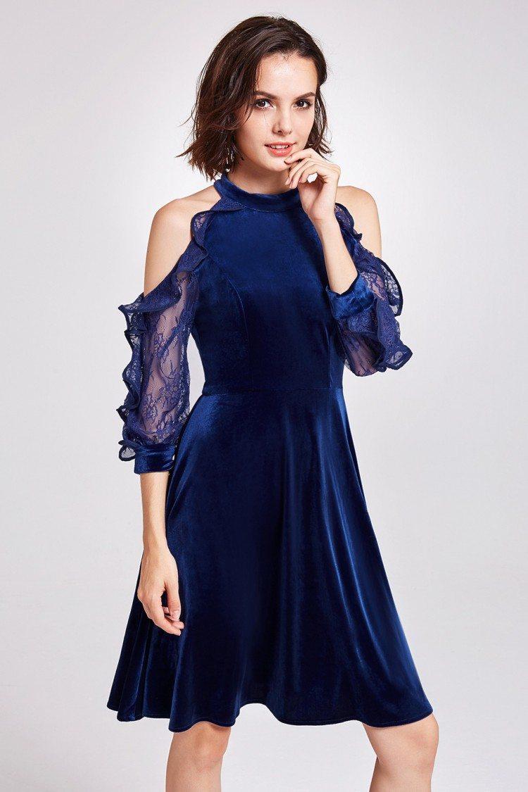 Blue Cold Shoulder Velvet Short Party Dress 45