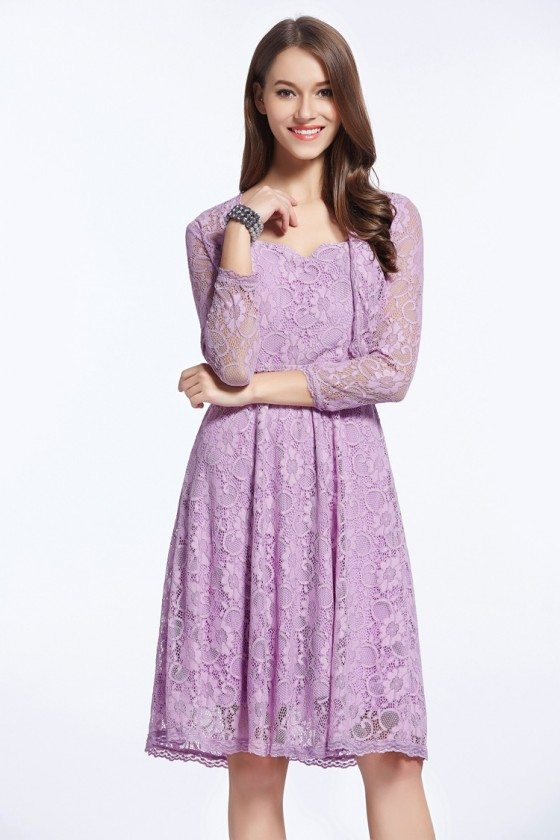 Simple Lilac Lace Little Prom Dress with Jacket - DK317