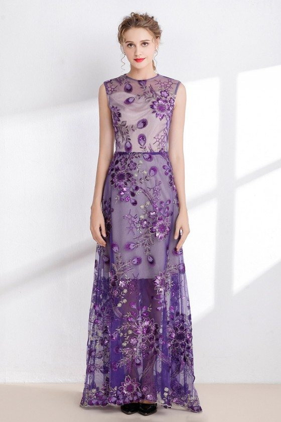 Purple Sleeveless Long Prom Dress with Embroidery Sequins