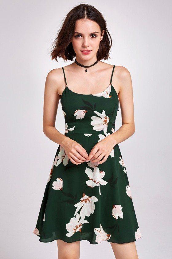 Green Spaghetti Strap Floral Print Cocktail Party Dress
