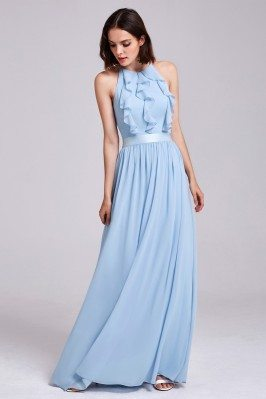 Light Blue Halter Ruffles...