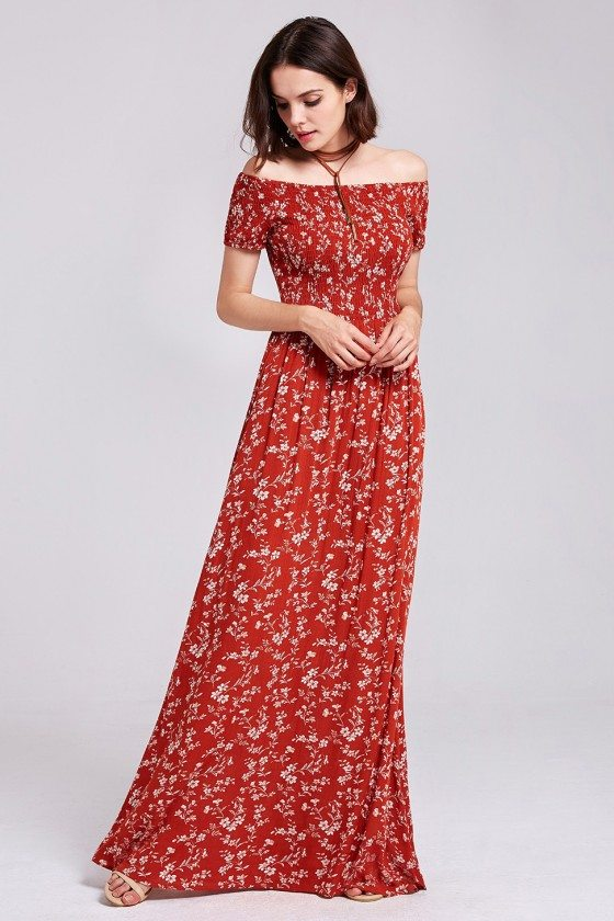 Red Printed Graceful Off Shoulder Long Casual Dress