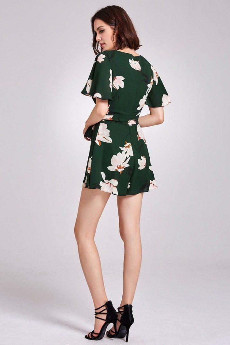 Dark Green Floral Printed Short Sleeve Romper Dress 49