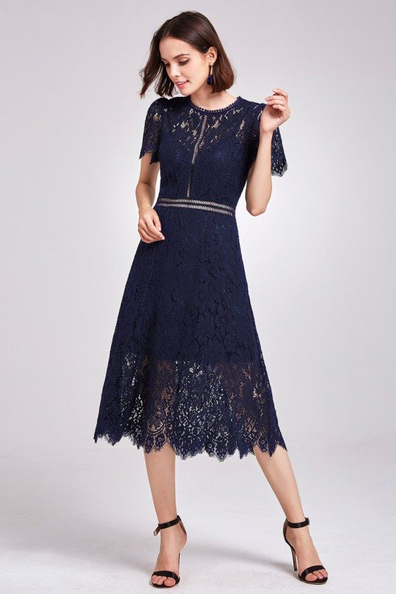 Navy Blue All Lace Hollow Out Formal Dress with Round Neck