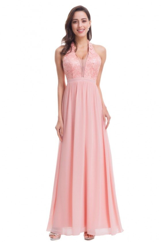 Pretty Pink V Neck Halter Chiffon Lace Evening Dress with Open Back