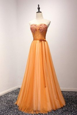 Unique Orange Beaded Formal...