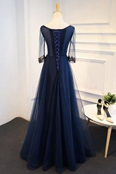 Uniuqe Navy Blue Long Tulle Prom Dress 3/4 Sleeves With Flowers - MQD17048