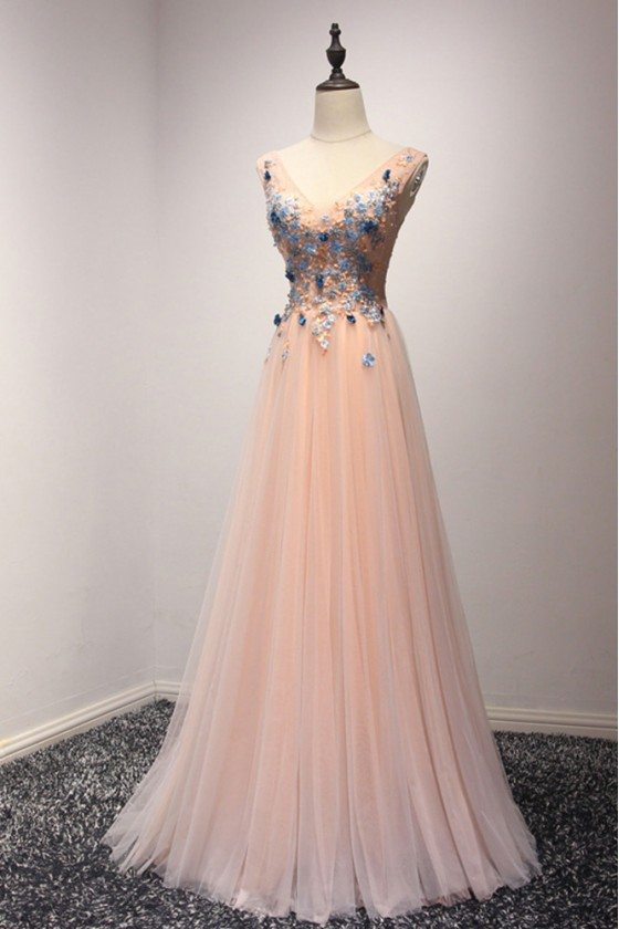 Unique Long Pink Homecoming Dress With Blue Florals For Curvy Girls