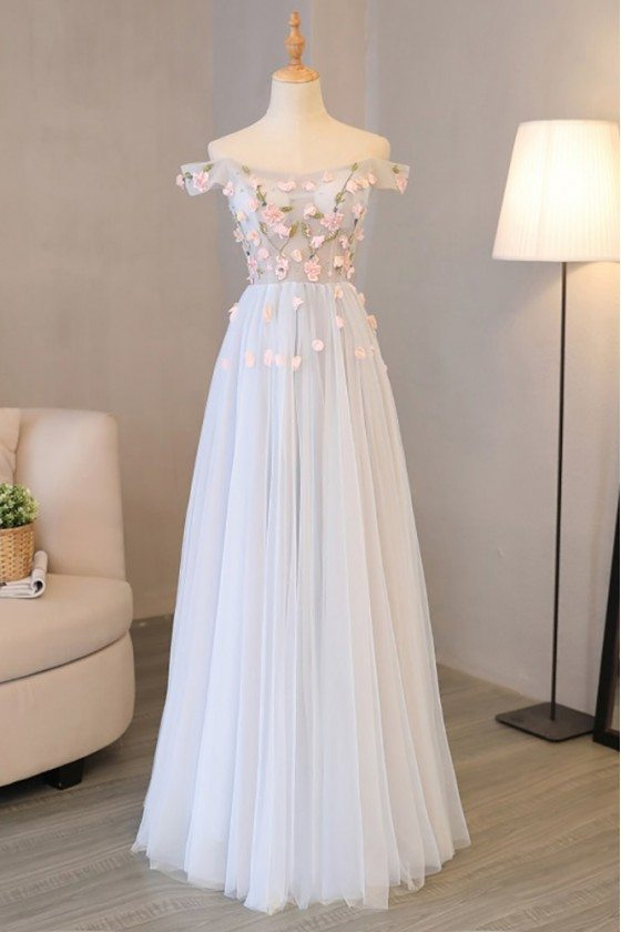 Beautiful A Line Off Shoulder Prom Dress Tulle With Petals - MQD17041