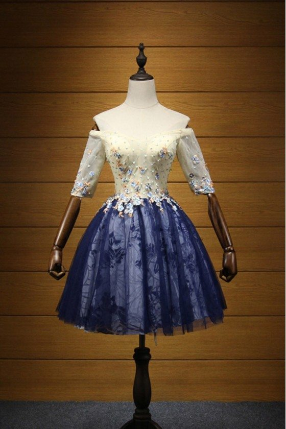 Chic Off Shoulder Sleeves Prom Dress In Printed Blue With Yellow Color