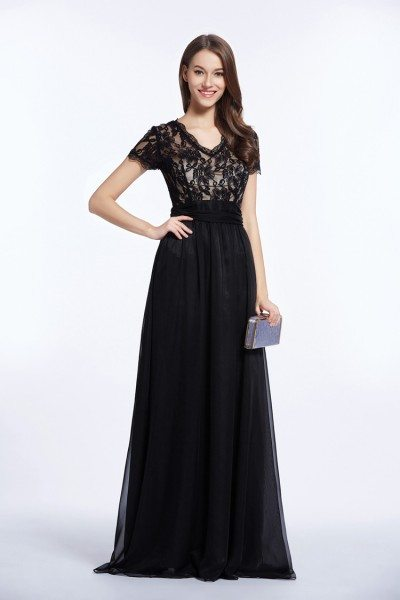 Floor Length Lace Short Sleeve Formal Dress