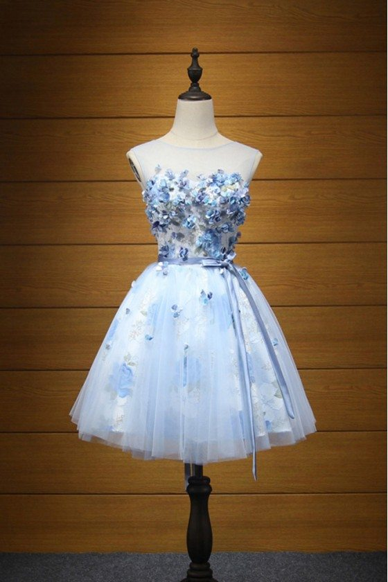 Cheap Short Blue Printed Homecoming Dress For Teens With Petals