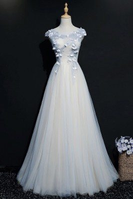 Blue A Line Long Tulle Prom Dress With Cap Sleeves - MQD17039