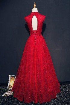 Chic Burgundy Deep V-neck Long Formal Dress Lace Sleeveless - MQD17035