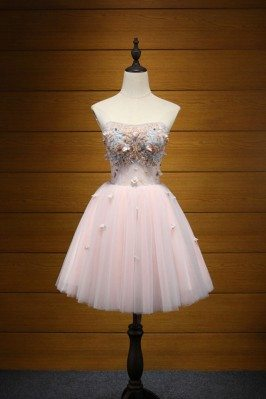Strapless Short Pink Prom...
