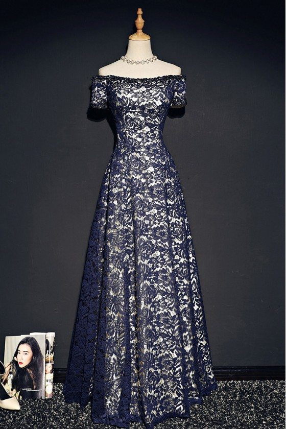 Navy Blue Off Shoulder Lace Prom Dress With Sleeves - MQD17034
