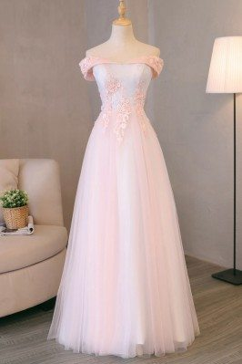 Pretty Pink Tulle Long Prom...
