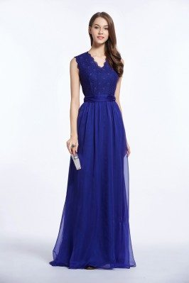 Lace Chiffon V-neck Sleeveless Long Dress