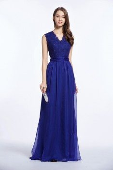 Lace Chiffon V-neck Sleeveless Long Dress