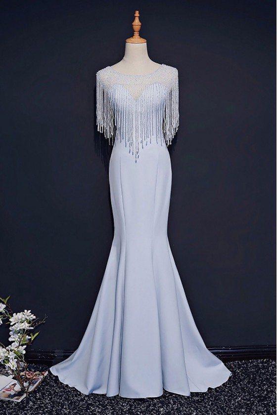 Classy Light Blue Formal Long Prom Dress Mermaid With Bling - MQD17003