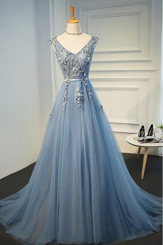 Gorgeous Dusty Blue V-neck Long Lace Prom Dress With Open Back