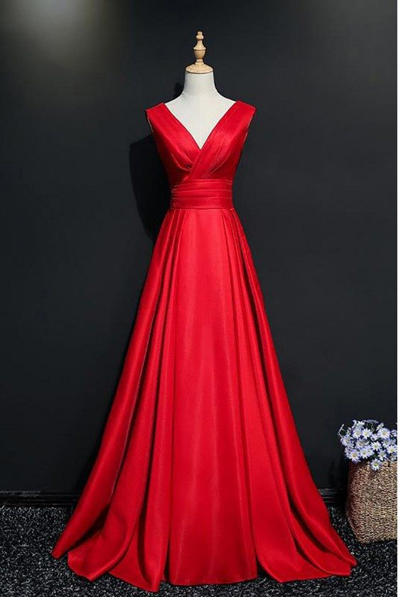 Elegant Burgundy V-neck Long Formal Party Dress With Train - MQD17006