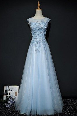 Sky Blue A Line Long Tulle Prom Dress With Lace Cap Sleeves - MQD17009