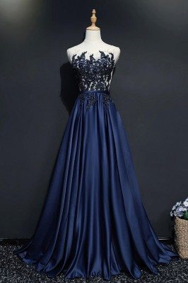 Navy Blue Sequined Lace...