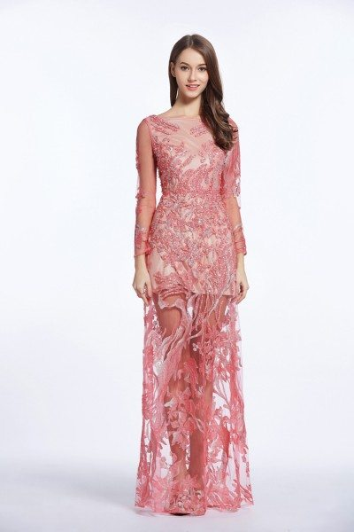 See-through Embroidery Long Sleeve Prom Dress