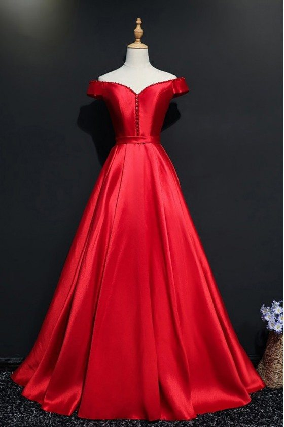 Simple Burgundy Off Shoulder Long Satin Prom Dress With Sleeves