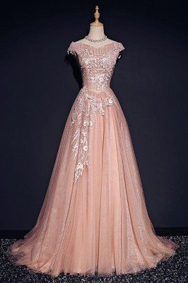 Pink Formal Long Tulle Prom...