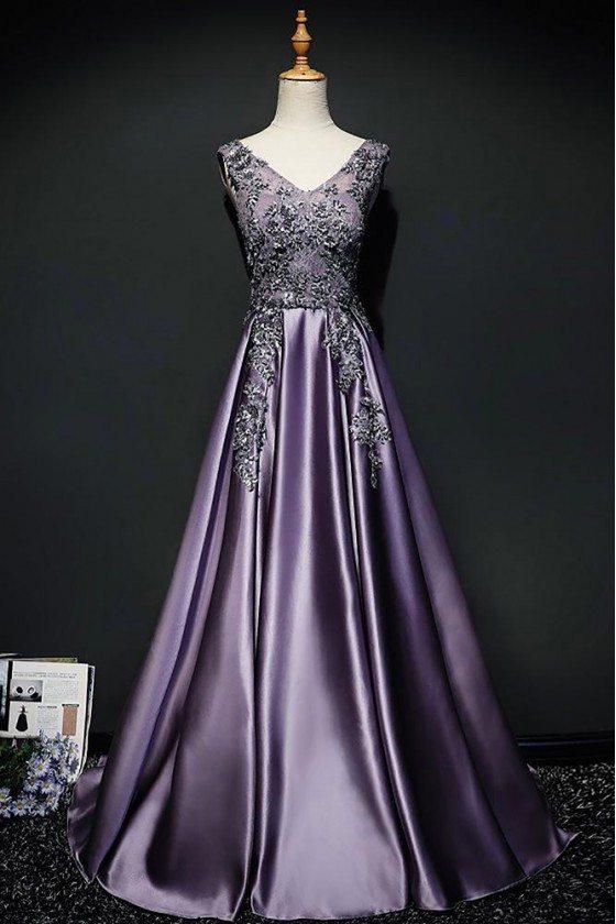 Purple Long Formal Satin Prom Dress Sleeveless With Open Back - MQD17018