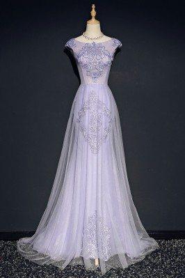 Elegant Lilac Long Tulle...